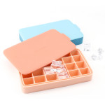 Ice Cube Trays, Beasea Silicone Ice Cube Molds with Lids, 24 Cubes Set of 2 Easy Release Cube Molds for Whiskey & Cocktails - Pink & Blue