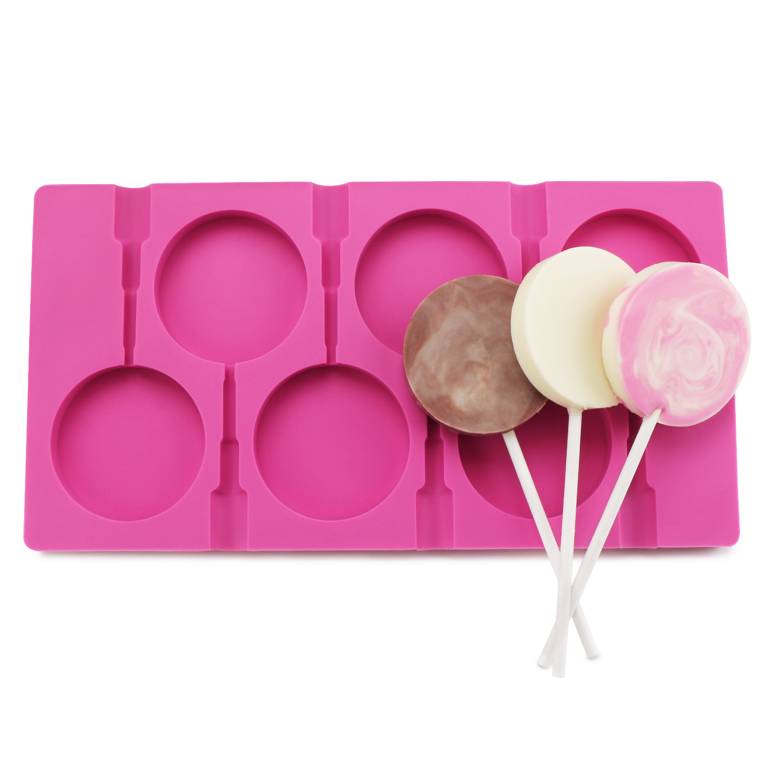 Beasea 6 Cavity Round Lollipop Mold