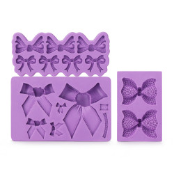 Beasea 3pcs Bow Bowknot Silicone Mold Candy Sugar Craft Fondant DIY Gumpaste Cake Decoration Cupcake Decorating Toppers Clay Purple
