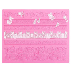 Silicone Lace Mats for Cakes, Beasea Lace Silicone Mold Adorable Fondant Cake Decorating Tools Lace Decoration Mat Bear & Foot Print Pattern Molds Sugar Craft Tools - Pink