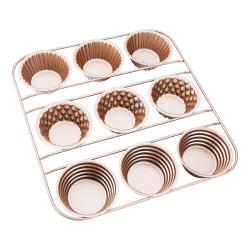 Muffin Pan, Beasea 9 Cavity Cupcake Baking Pan, Nonstick Muffin Cake Pan Carbon Steel Muffin Cupcake Bakeware for Oven Baking