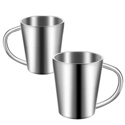 Stainless Steel Mug Set of 2, Beasea 10 oz Double Wall Insulated Coffee Mug Metal Drinking Cups Beer Tea Cups with Handle - Silver