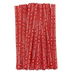 "100 Pack Treat Bags Cake Pop Treat Bag Sets 4""W Lollipop Sticks, Metallic Twist Ties, Clear Cello Favor Bags for Lollipop Candy Chocolate Party Present Red"